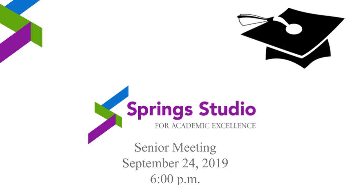Senior Information Meeting 19/20 Newsletter