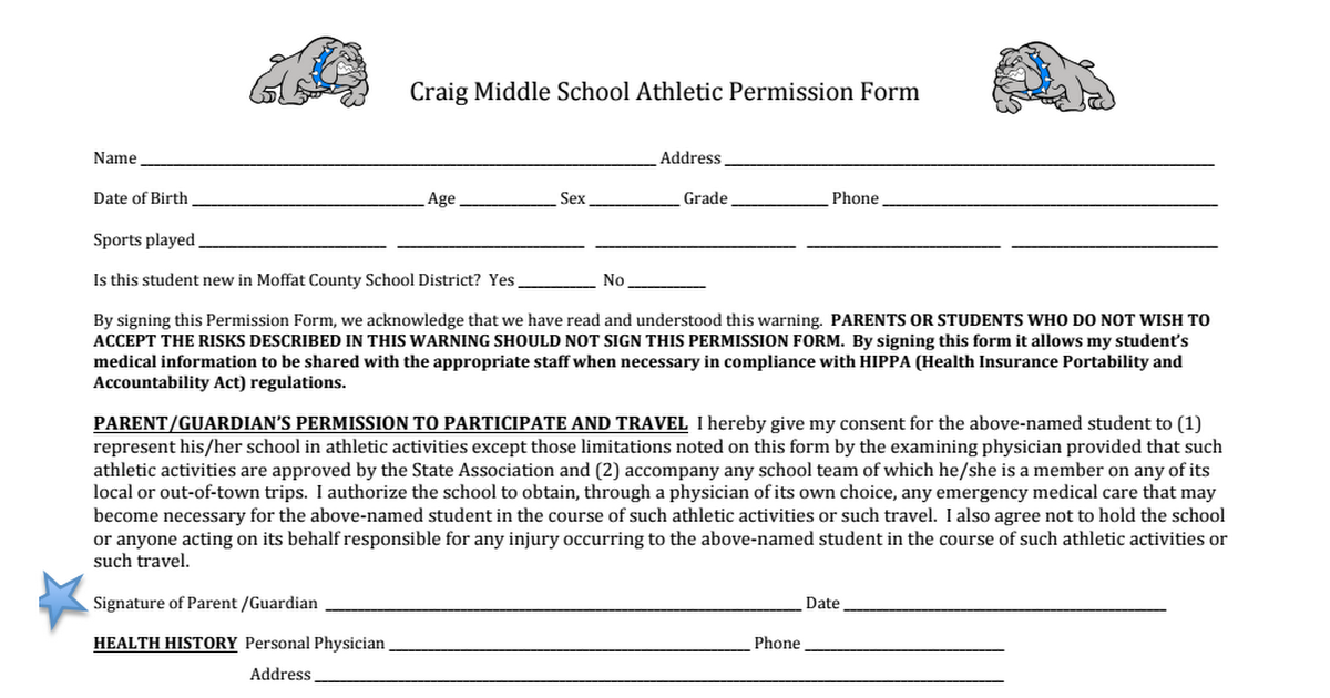 CMS Sports Physical Form page 1