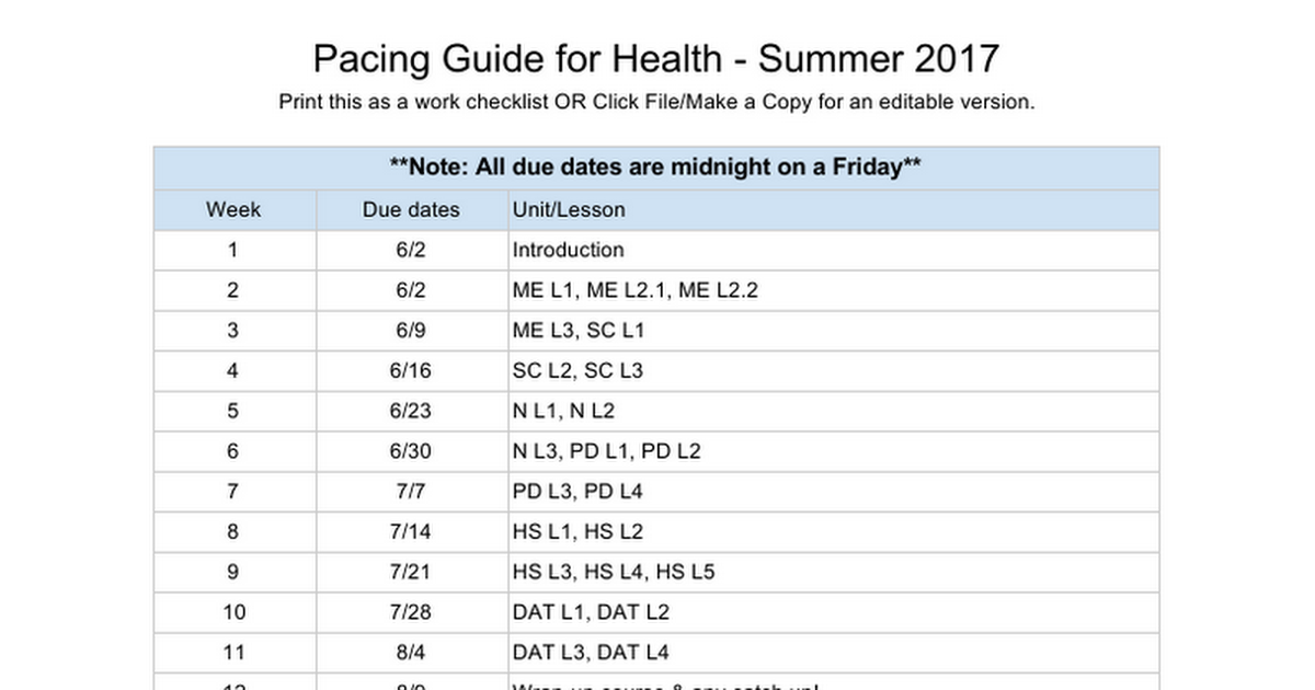 Summer2017 Pacing Guide