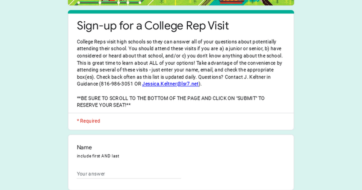 Sign-up for a College Rep Visit