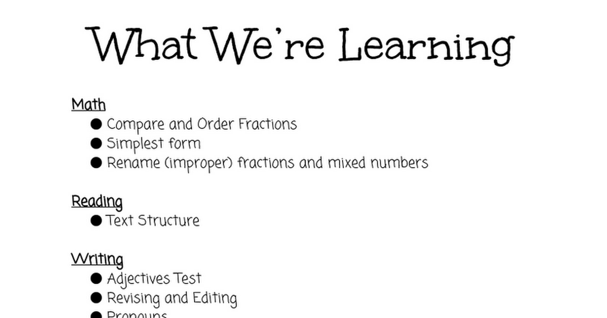 What We're Learning 1/11-1/18