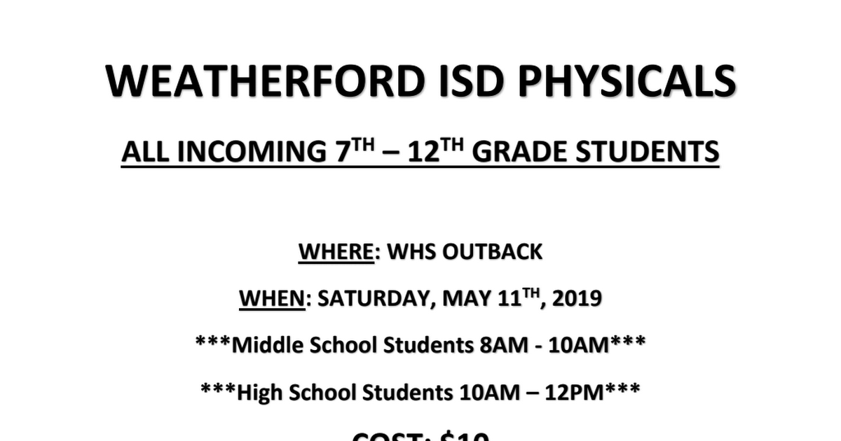 Weatherford ISD Physicals - Saturday, May 11, 2019.pdf