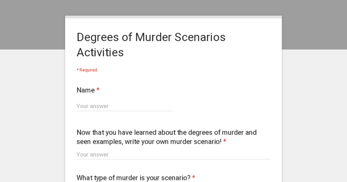 Degrees of Murder Scenarios Activities