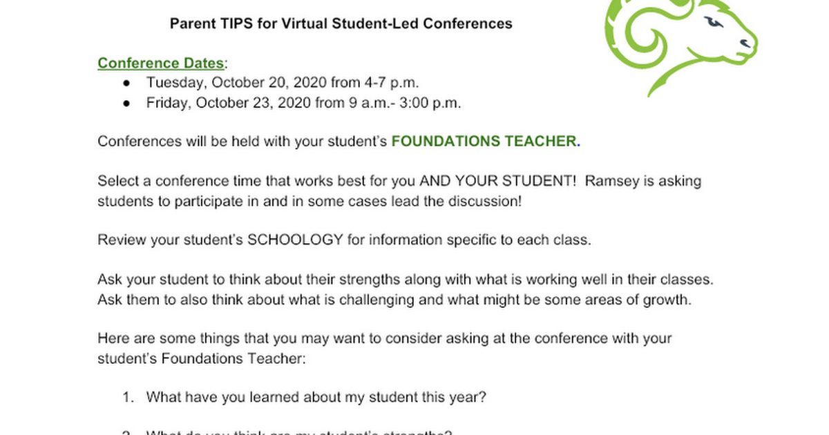 Parent TIPS for Virtual Conferences