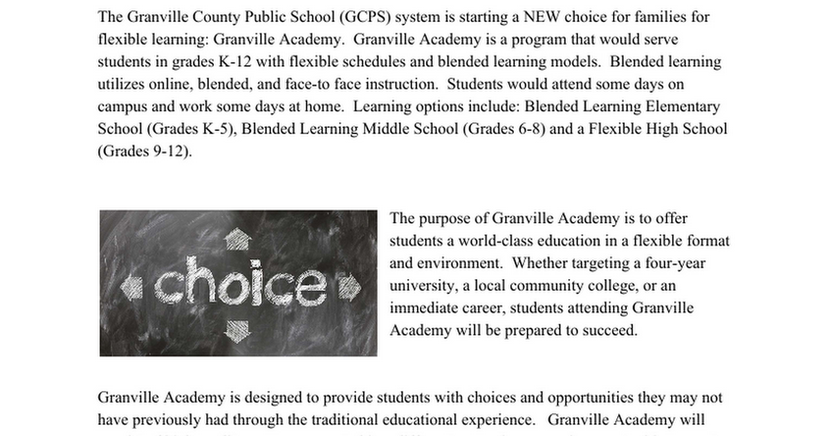 Final Granville Academy Press Release
