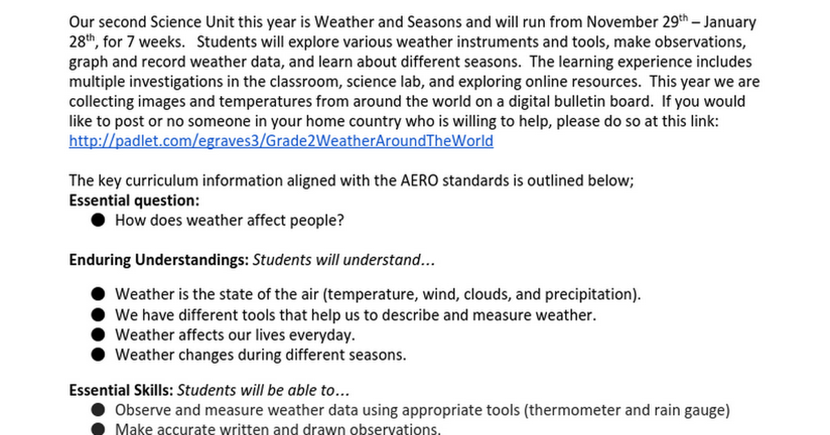 G2 Weather and Seasons Parent Letter 2015-16