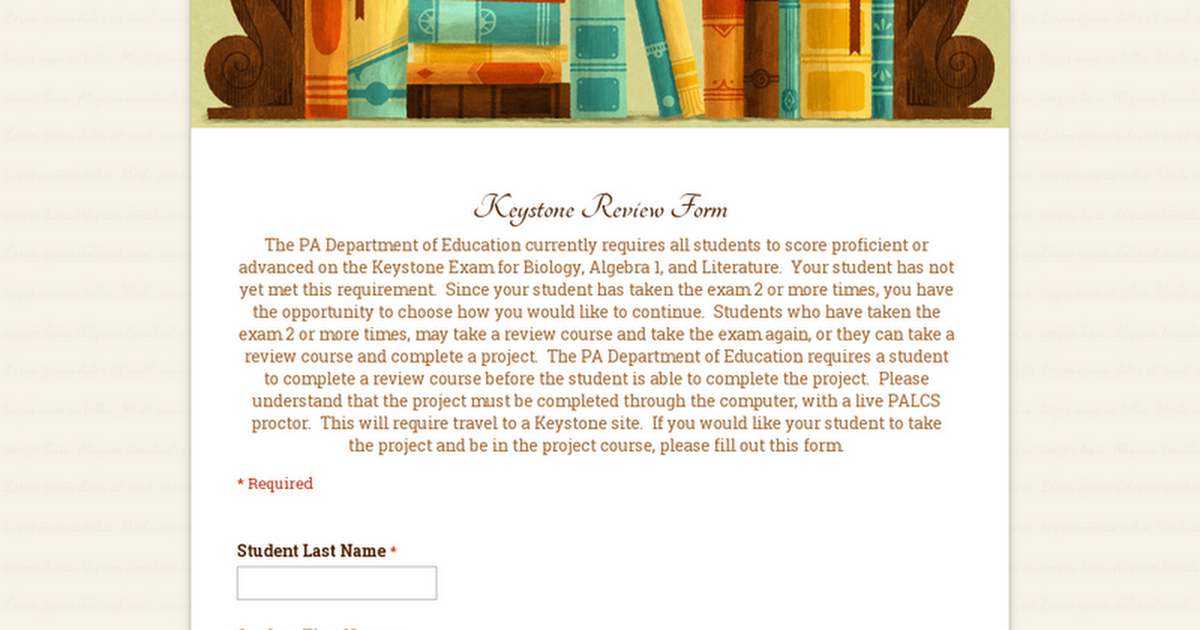 Keystone Review Form