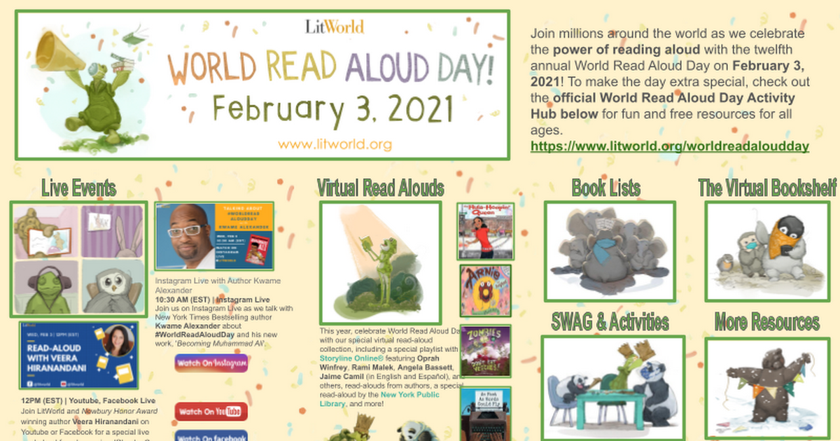 February 3rd World Read Aloud Day!