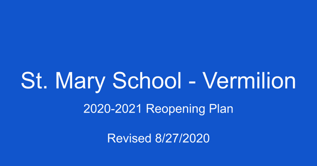 St. Mary School - Vermilion Reopening Plan