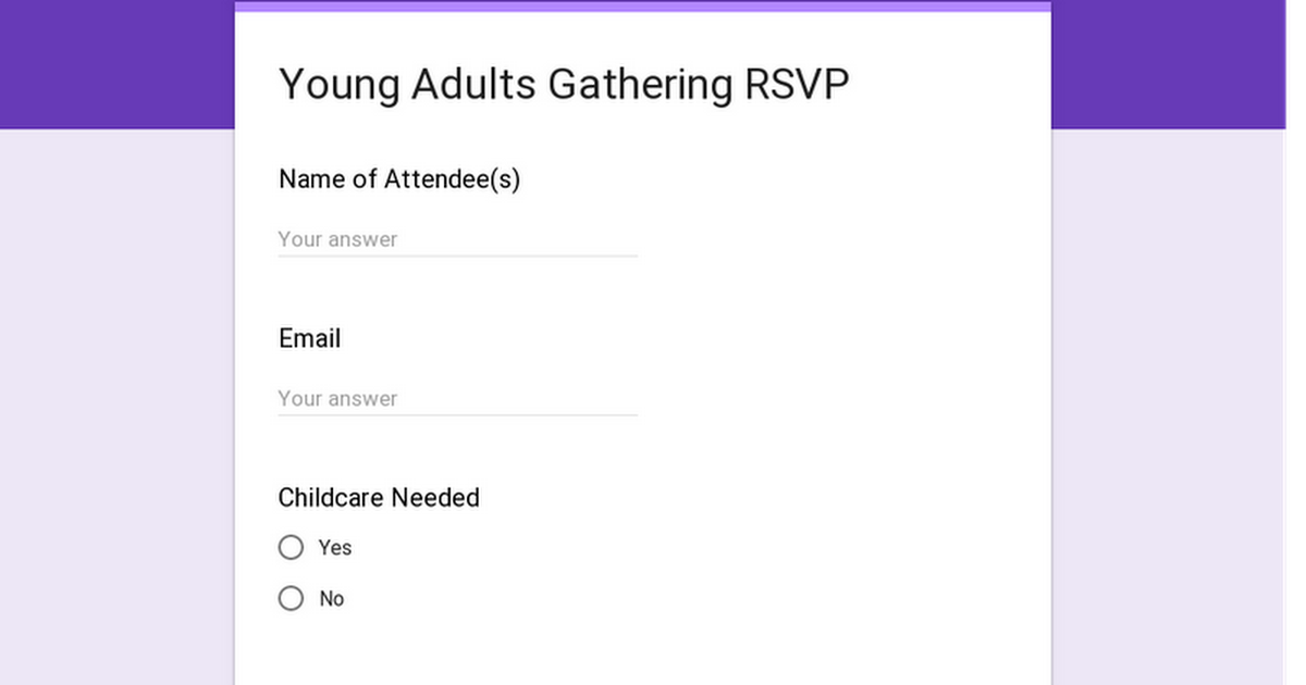 Young Adults Dinner RSVP
