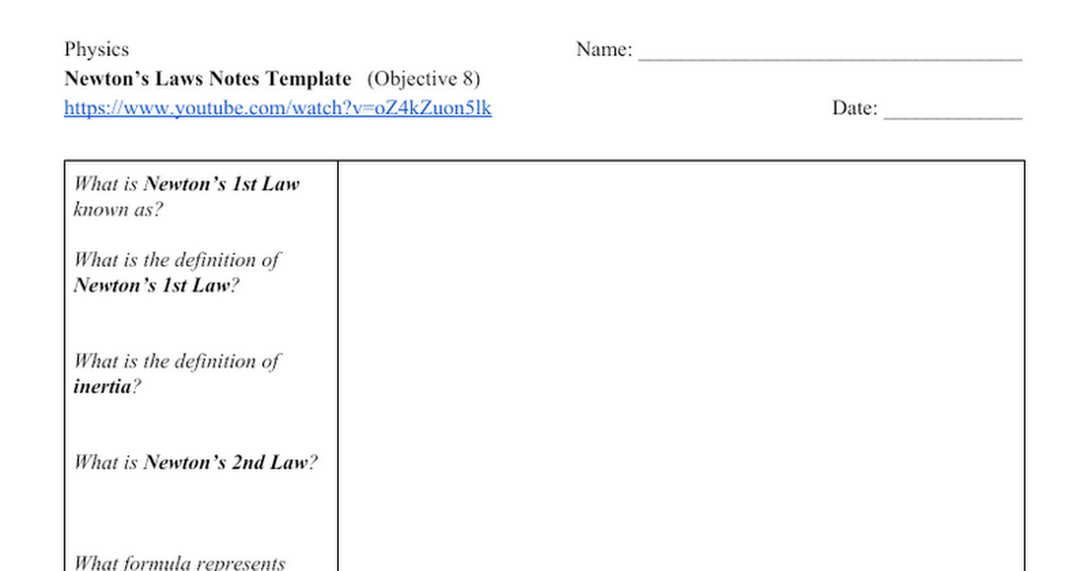 Newton's Laws Notes Template