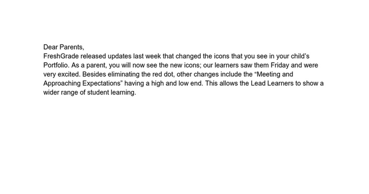 Freshgrade Update Letter