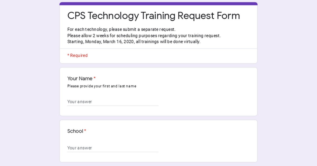 CPS Technology Training Request Form