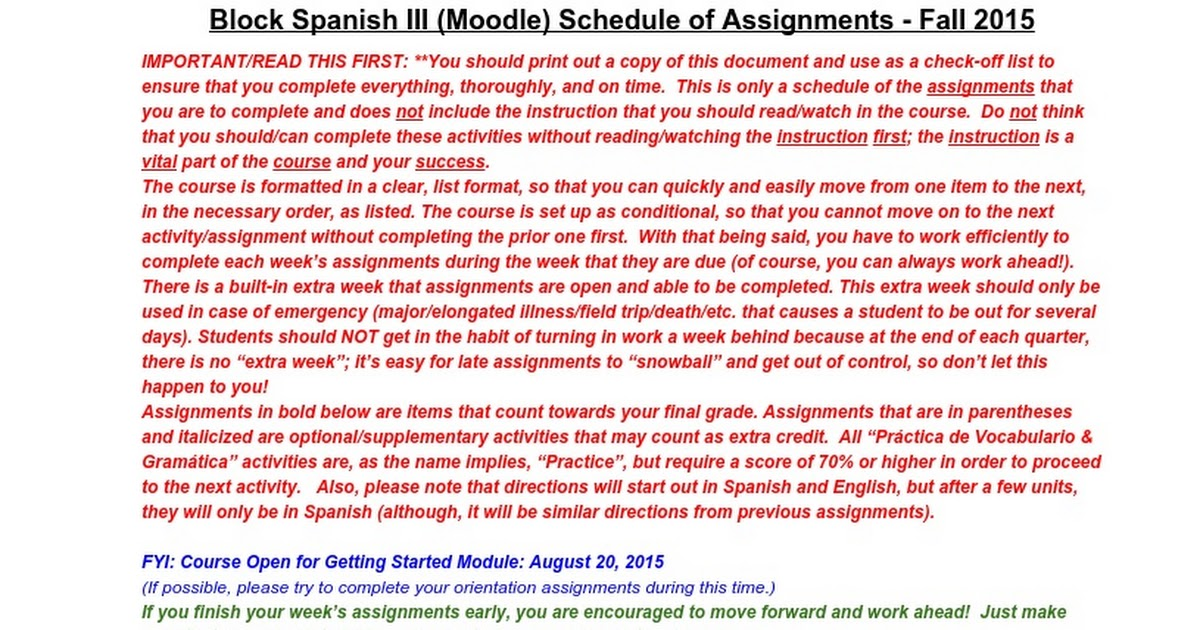 Block Spanish III Schedule of Assignments - Moodle - Fall 2015