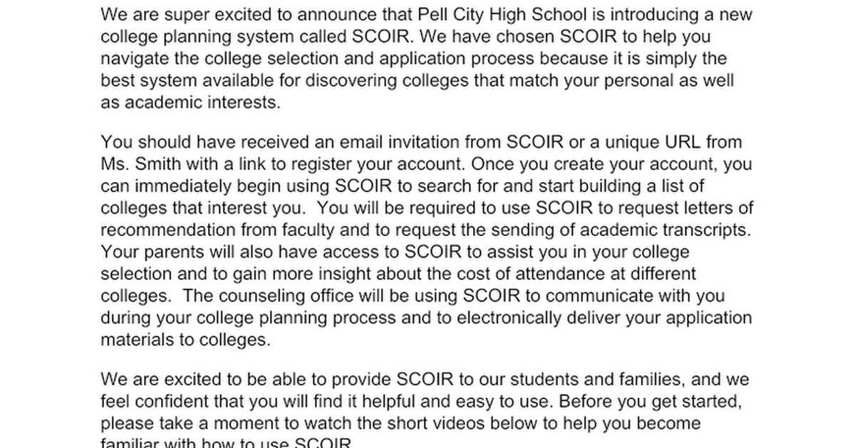 Introduction to Scoir Letter