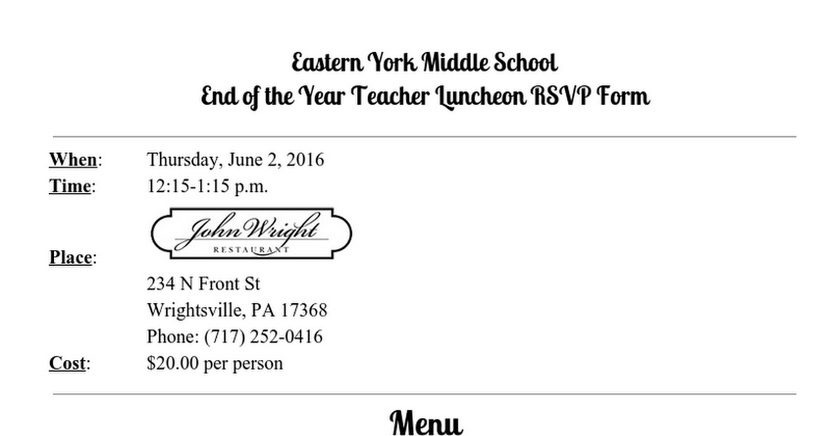 Eastern York Middle School End of the Year Teacher Luncheon RSVP Form