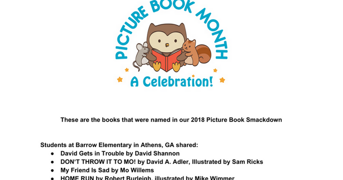 2018 Picture Book Smackdown Titles