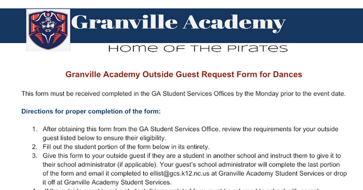 Granville Academy Outside Guest Request Form