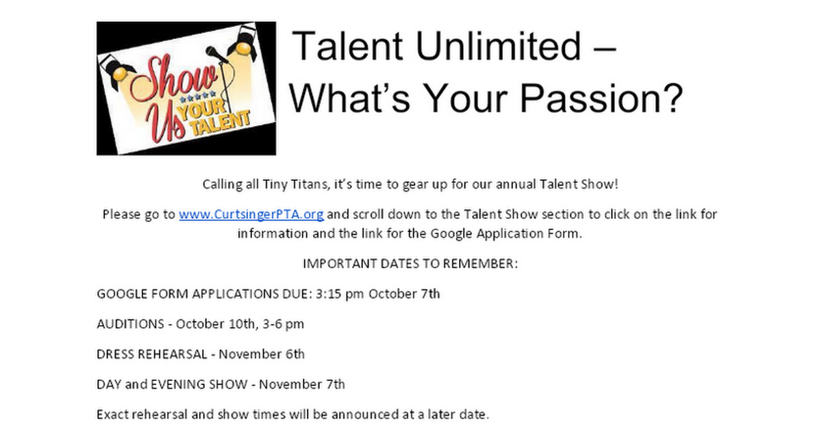 2019 Short Info Sheet Curtsinger Talent Show
