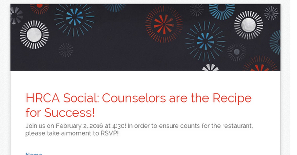 HRCA Social: Counselors are the Recipe for Success!