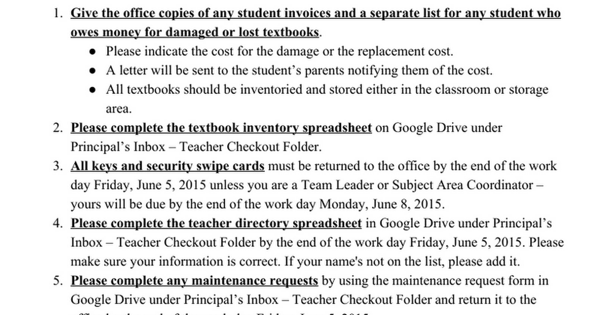 2014-2015 End of the Year - Teacher Check-Out Memo