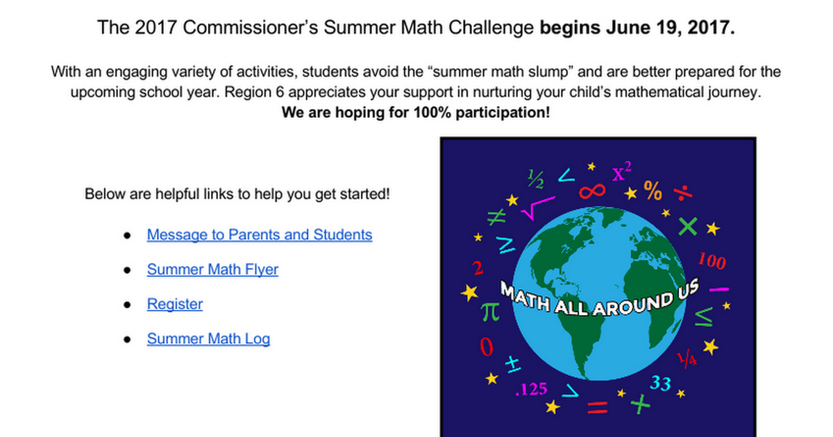 2017  Commissioner's Summer Math Challenge: