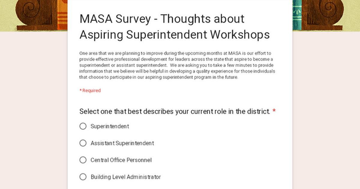 MASA Survey - Thoughts about Aspiring Superintendent Workshops
