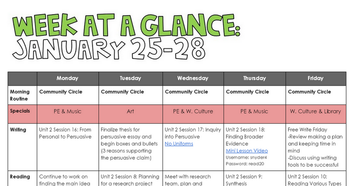 1/25-1/28 Week At A Glance