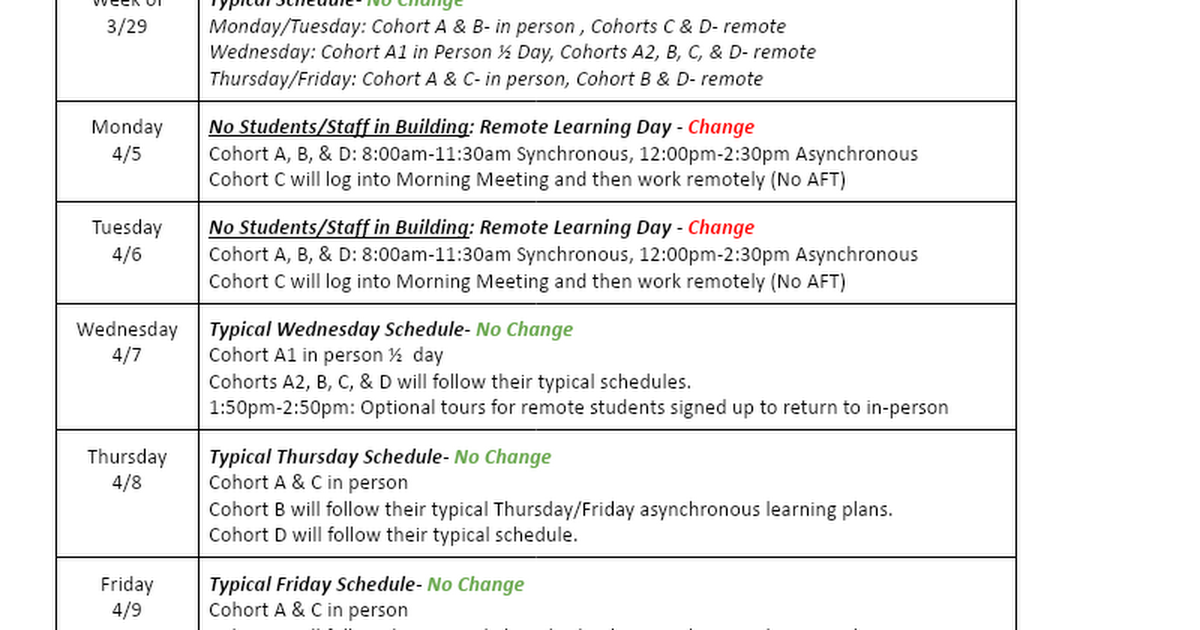 Important Changes to Sherwood's Upcoming Schedule