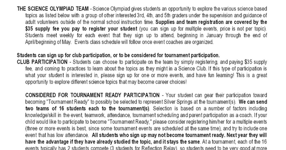 Science Olympiad Parent Information 2019