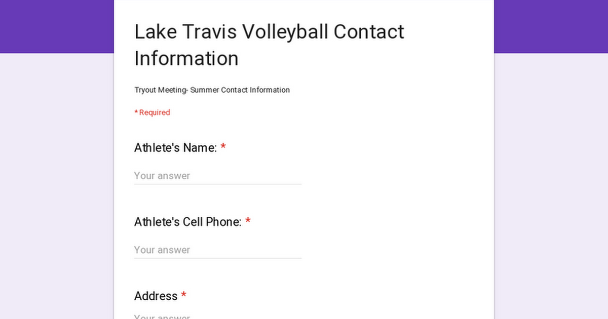 Lake Travis Volleyball Contact Information