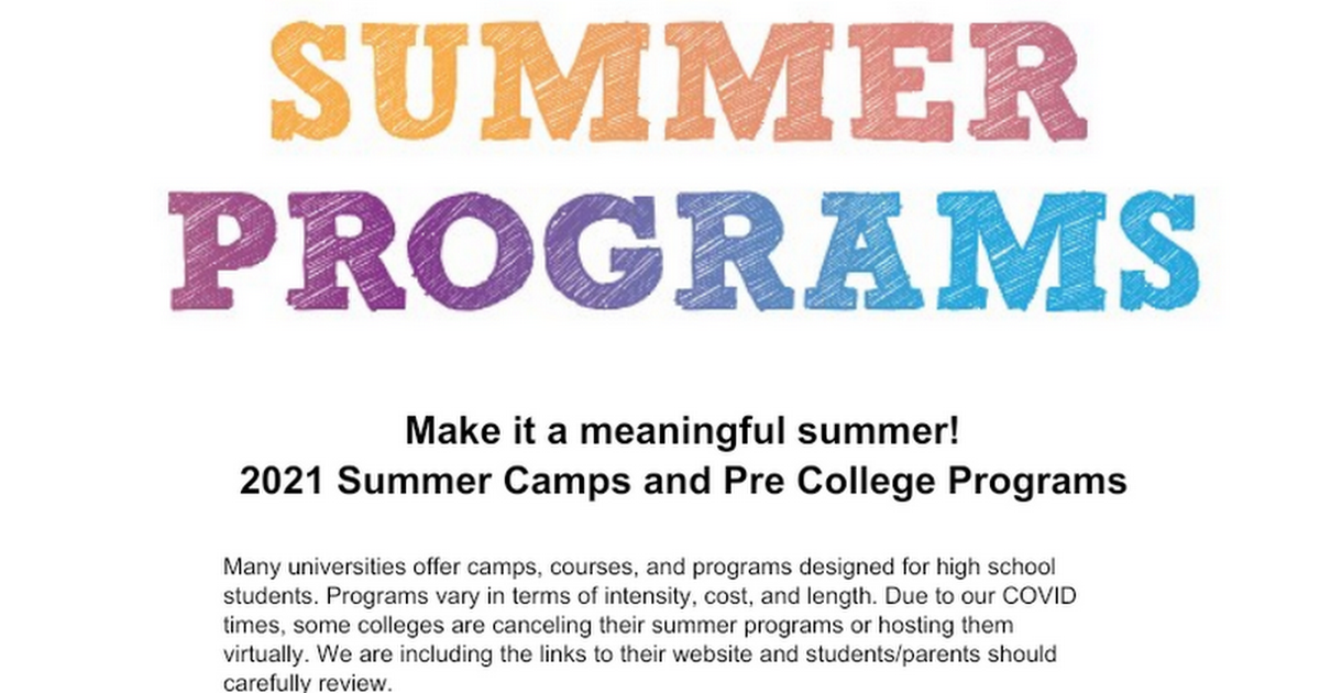 Summer Opportunities 2020 - Master