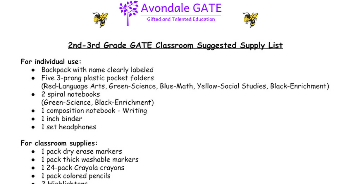 Avondale GATE Magnet School Supply Lists.docx