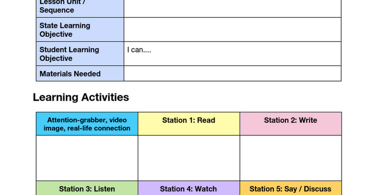 Read Write Listen Say Station Planner