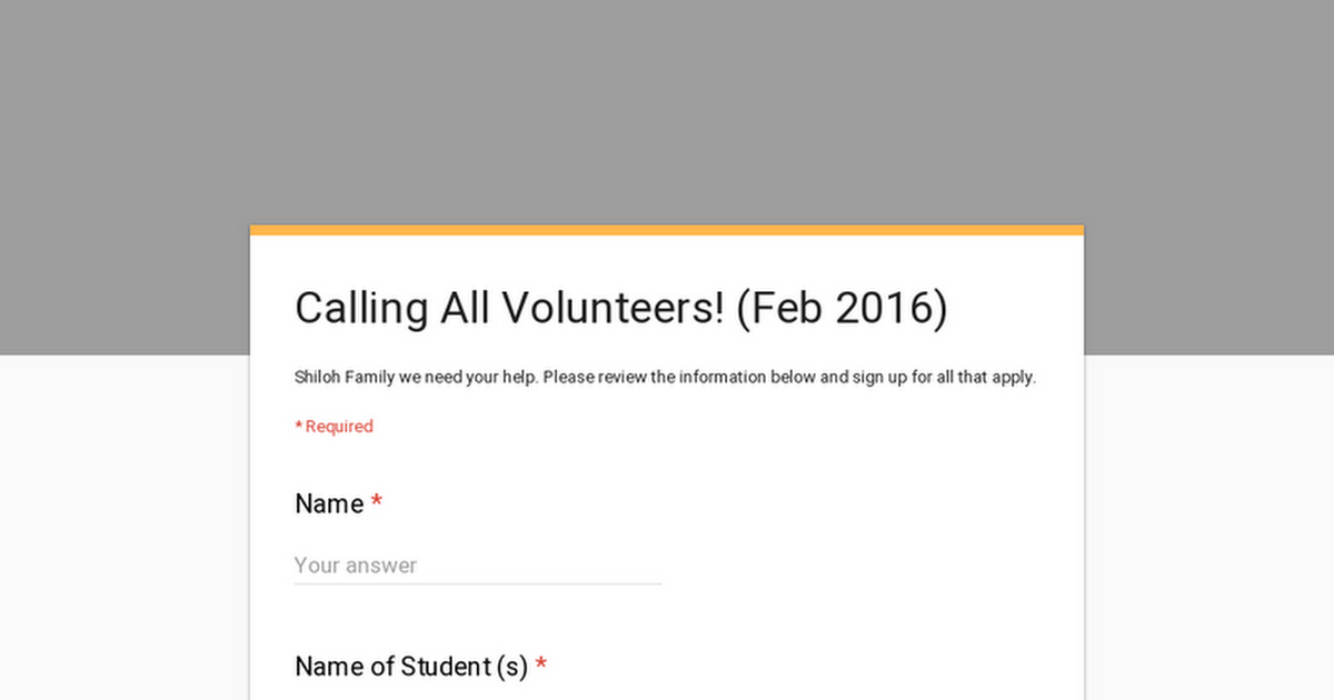 Calling All Volunteers! (Feb 2016)