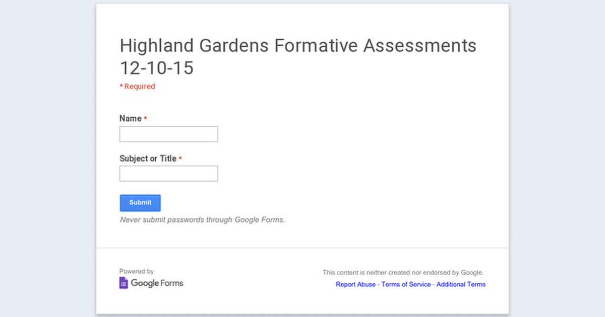 Highland Gardens Formative Assessments 12-10-15