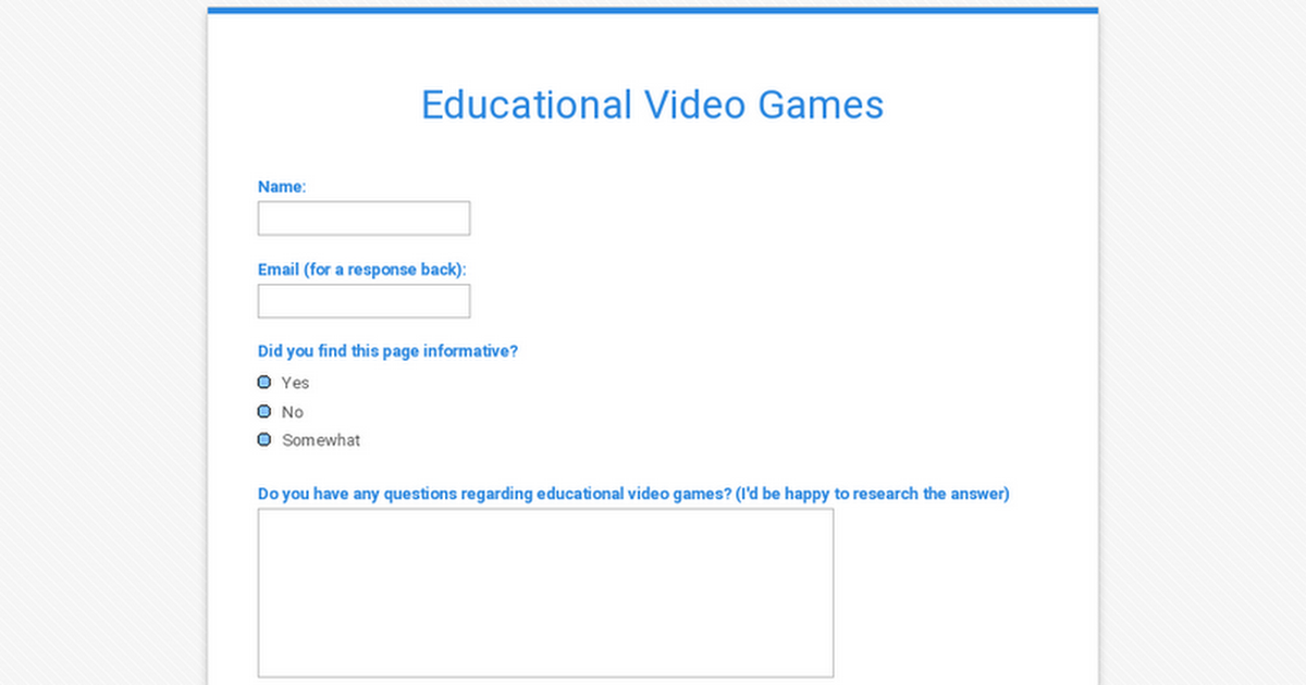Educational Video Games