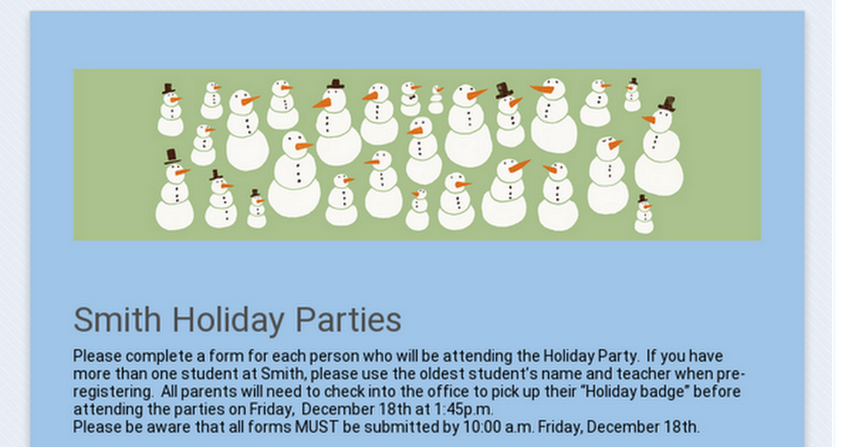 Smith Holiday Parties