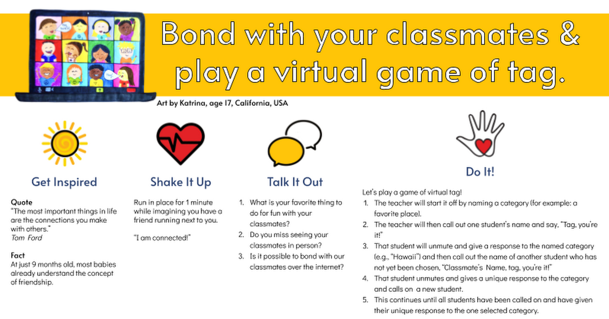 48. Bond with your classmates & play a Virtual Game of Tag