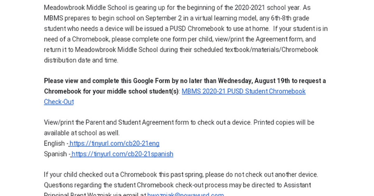 Meadowbrook Middle School: Chromebook Check-Out for 2020-21 School-Year