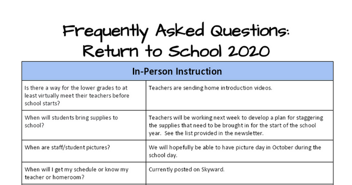 FAQ: Return to School