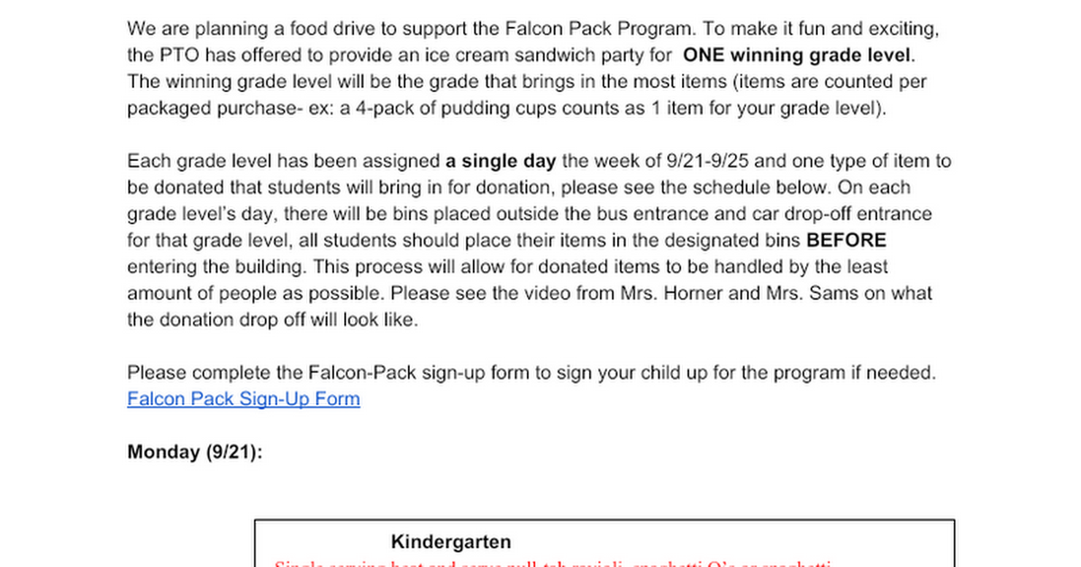 Falcon Pack Food Drive