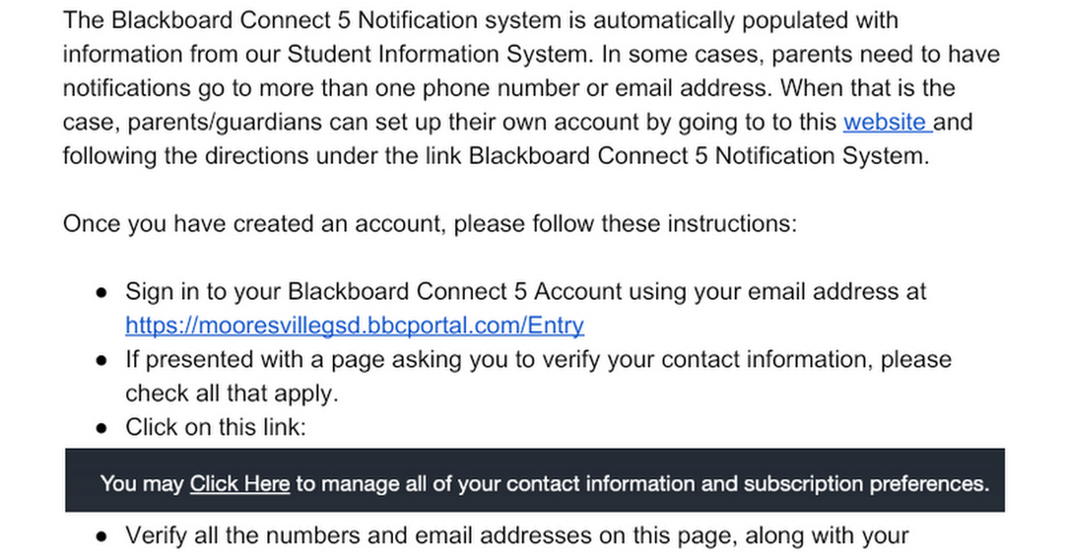 Verifying Blackboard Connect 5 Information