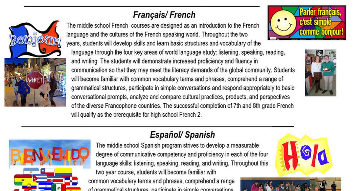 6th grade flyer for languages