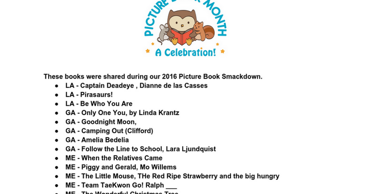 2016 Picture Book Smackdown Titles!
