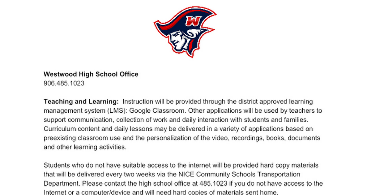 Westwood High School Distance Learning Plan