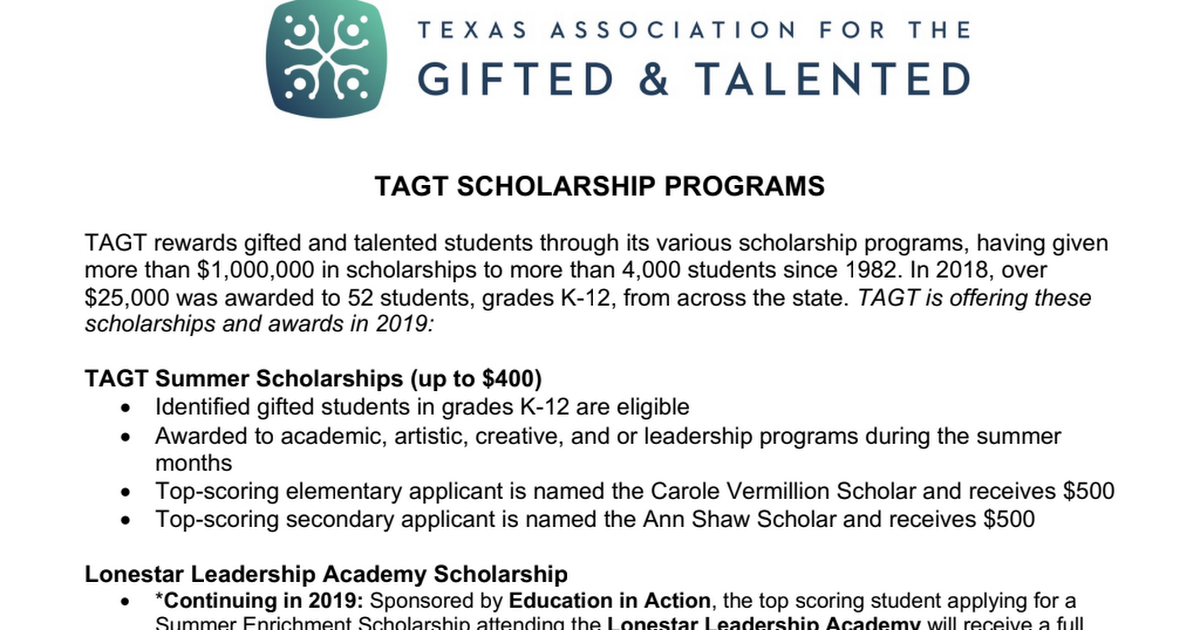 TAGT Scholarships - General Information.pdf