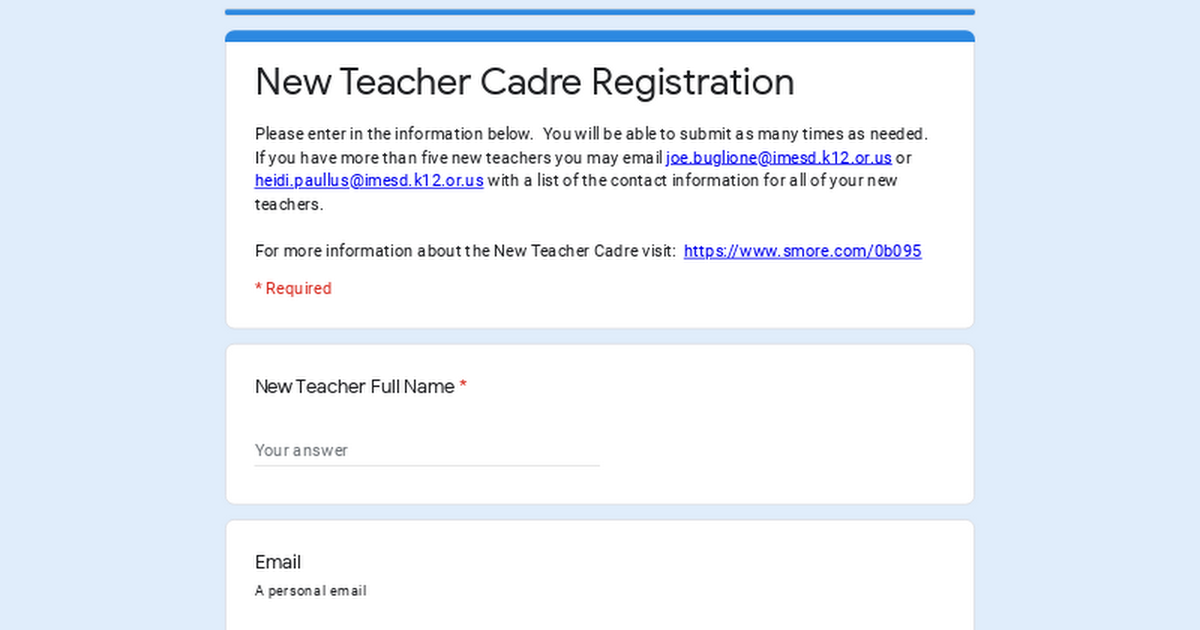 New Teacher Cadre Registration
