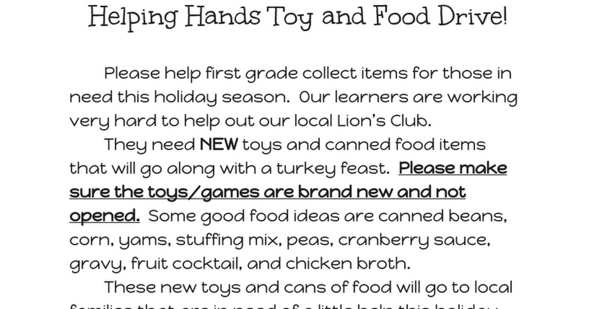 Helping Hands Toy and Food Drive