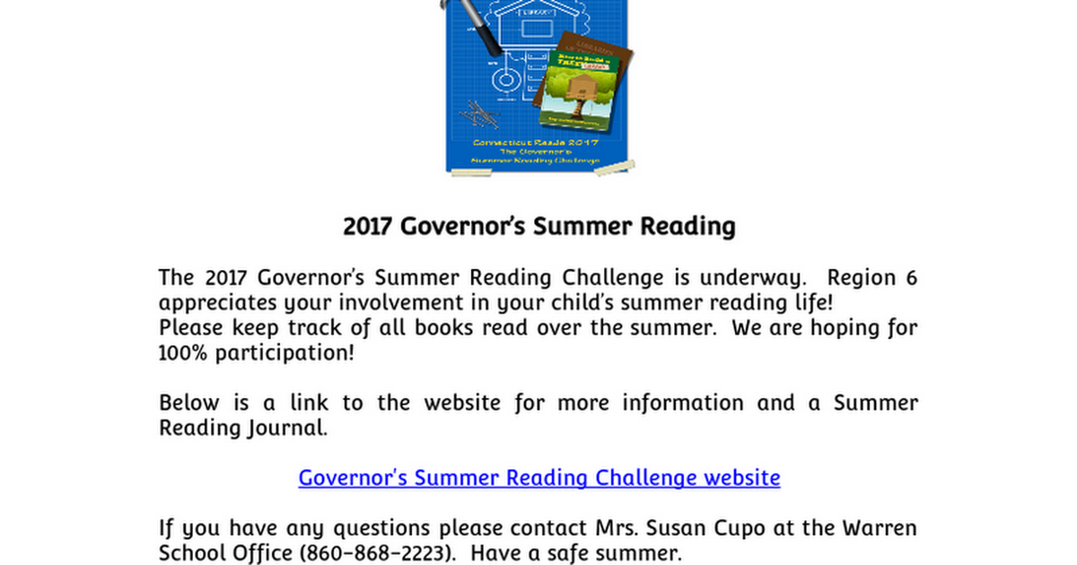 JMS Governor's Summer Reading Challenge e-blast 2017